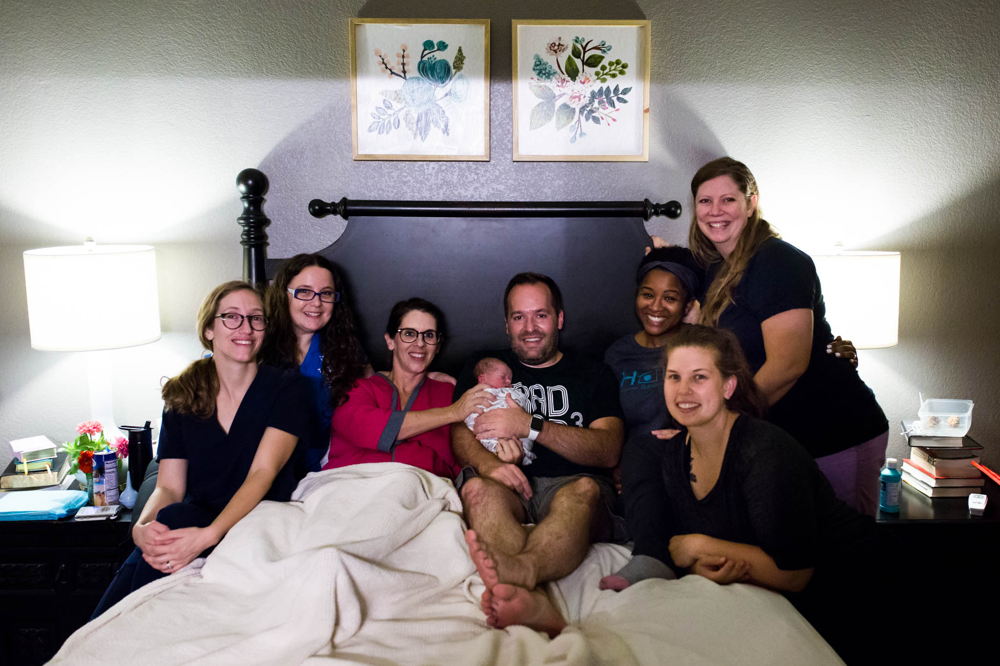 Image of a full birth team for a Denton, Texas home birth, photo taken by LAwren Rose Photography